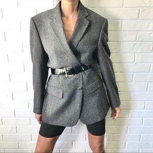 Vintage grey herringbone tweed wool blazer coat L
